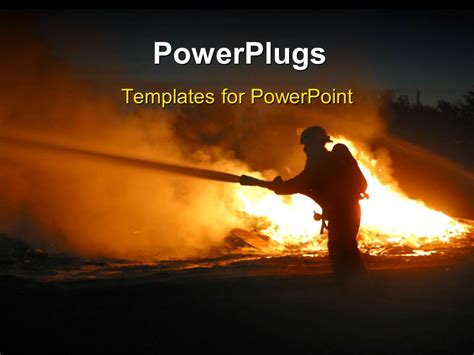 powerpoint themes free download fire powerpoint template silhouette of a firefighter at a fire