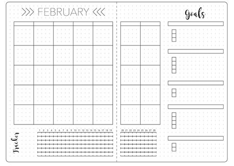 February Set Up Template Kate Louise Free Bullet Journal Templates
