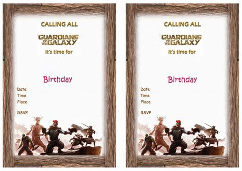 Guardians Of The Galaxy Invitation Template Guardians Of The Galaxy Birthday Invitations Birthday Printable