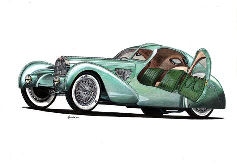 bugatti car drawing bugatti type 57 aerolithe electron coupe drawing by