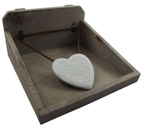 gisela graham rustic wooden heart napkin holder