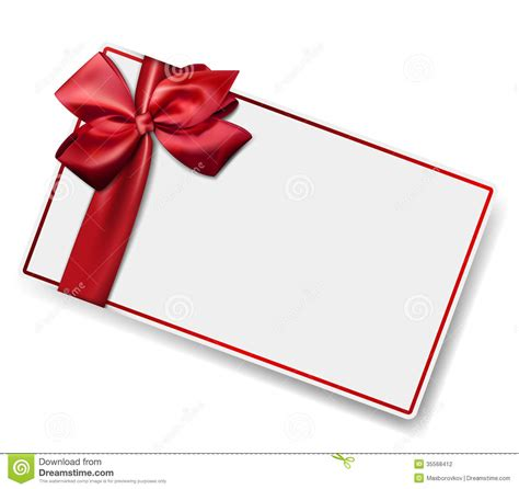 Paper Gift Card - white paper card with gift red satin bow stock photography image 35568412