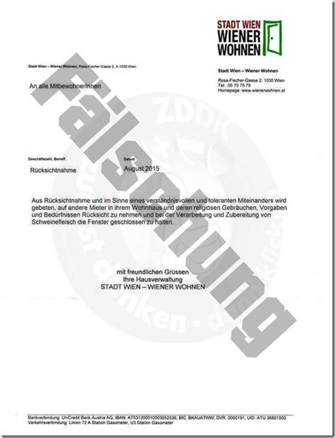 Offizieller Brief Vorgaben Brief Wiener Wohnen Ist Eine F 228 Lschung Mimikama
