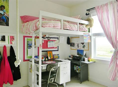 Loft Beds With Underneath by A Simple Loft Bed With A Work Table Underneath Saves Up On