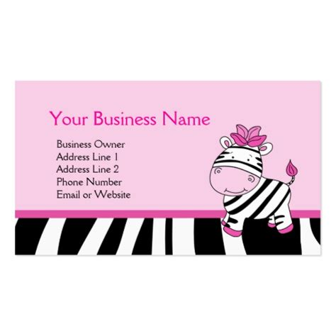 Pink Zebra Customizable Business Card Template Zazzle Pink Zebra Business Card Template Free