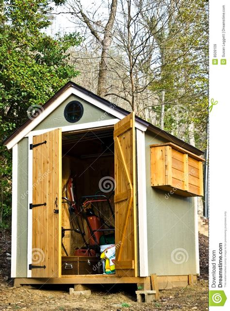 Upright Bike Shed by Small Garden Shed Vertical Royalty Free Stock Images