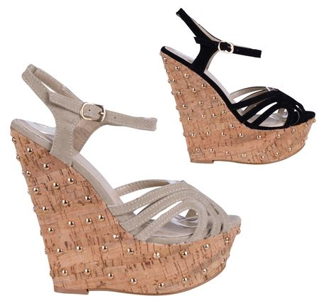 high cork wedge sandals s studded high heel cork platform wedge strappy