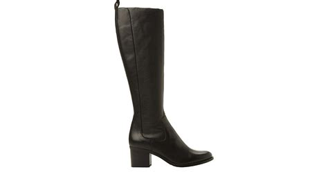 dune black teyla stretch leather knee high boots in black