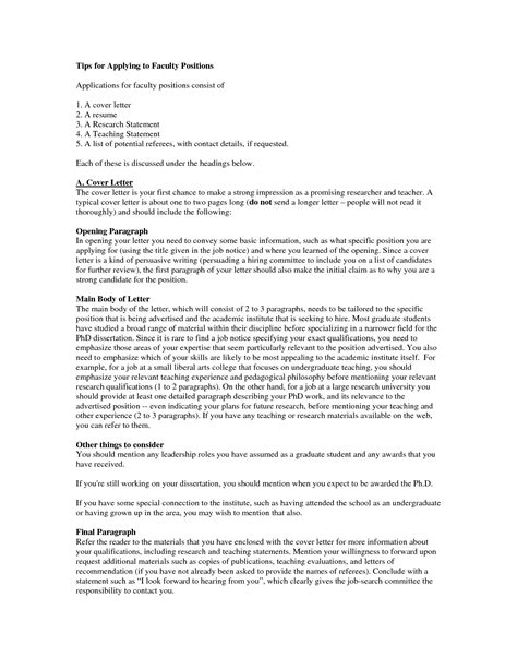 Faculty Cover Letter Exles by Cover Letter Format Teachers College