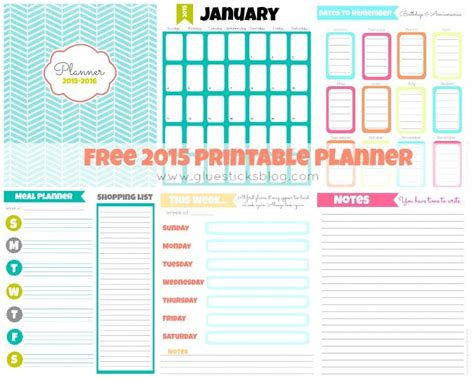free printable 2015 planner gluesticks