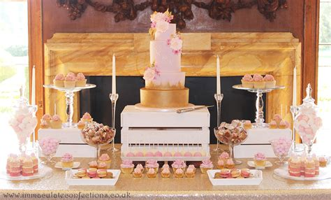 blush pink and gold dessert table cakes by natalie