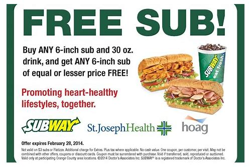 free printable coupons subway sandwiches