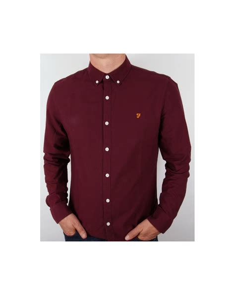 Shirt For Farah Brewer Shirt Burgundy Sleeve Vintage Mens