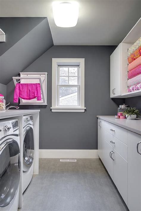 Pink And Gray Laundry Room Design Contemporary Laundry Gray Laundry