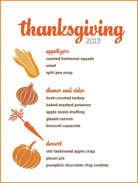 thanksgiving menu template card authorization