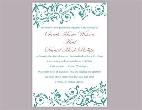 wedding invitation editable templates diy wedding invitation template editable word file instant