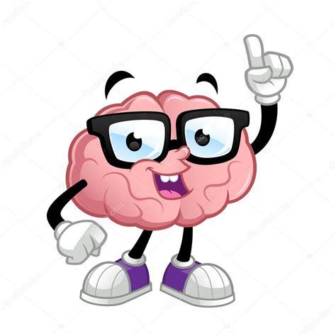 imagenes de inteligente animado personaje de dibujos animados de cerebro vector de stock