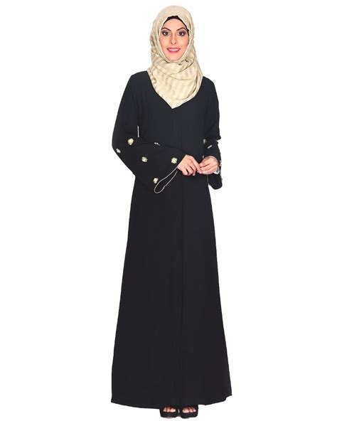 Abaya India New 6 black abaya with delicate embroidered bell sleeve