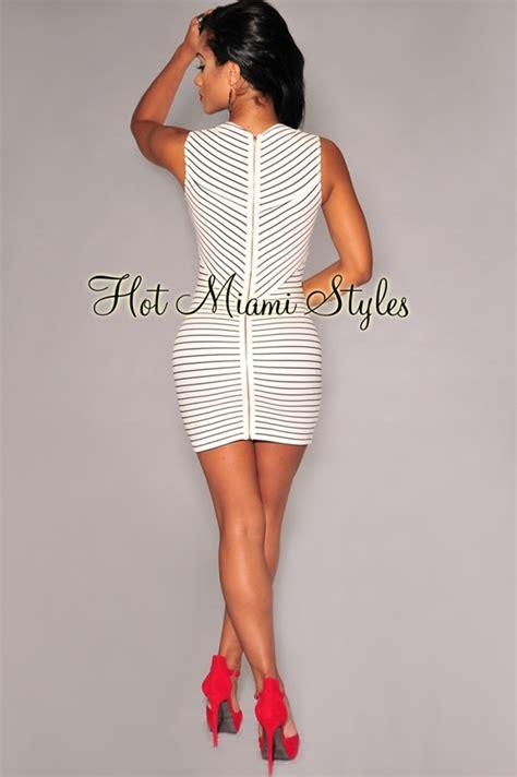 Doff Mini White white black stripes mini dress