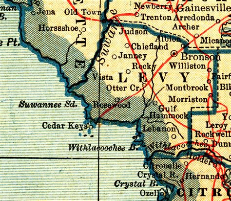 rosewood florida map levy county 1921