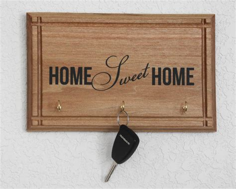 Handcrafted Plaques - handcrafted wood plaque home sweet home key holder