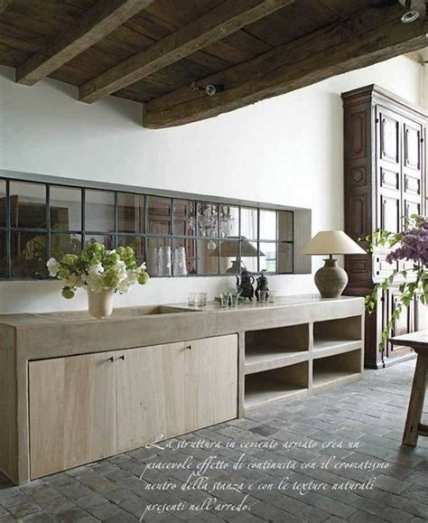 Concrete And Wood Kitchen by Concrete Counter Oak Cabinets And Beams On
