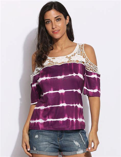 20238 Import Cotton Shirt Half Lace Sleeve Casual Top Whiteblack purple cold shoulder half chiffon top cold shoulder half sleeve top half 35di