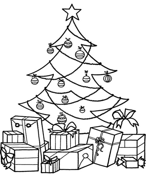 christmas tree and presents coloring page christmas tree coloring pages