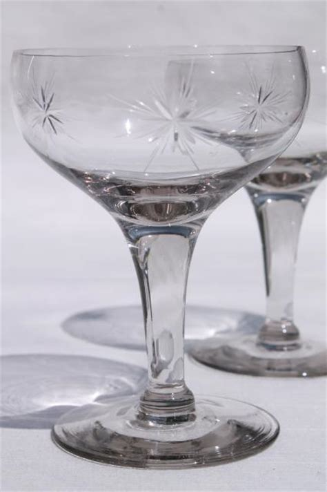 vintage star pattern glass cocktail set pitcher glasses