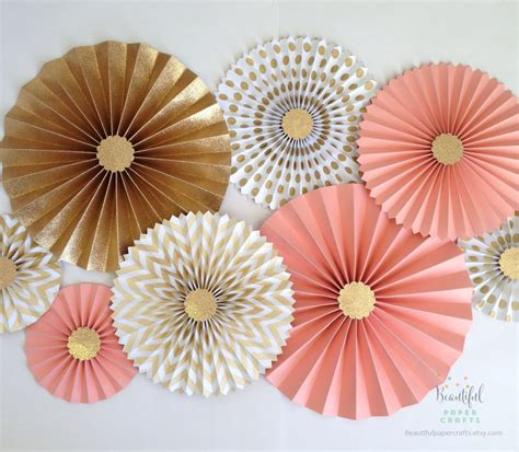 Paper Rosettes - coral and gold glitter gold rosette backdrop coral and