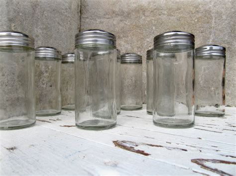 Small Glass Bottles For Spices 11 Glass Spice Jars Silver Lids Small Apothecary Storage