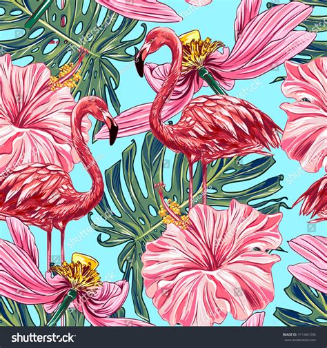 pink jungle wallpaper pink flamingos tropical flowers jungle leaves stock vector