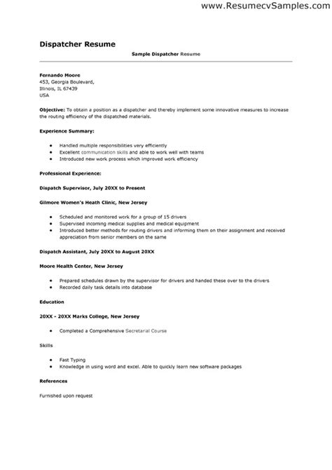 Best Photos of Dispatcher Resume Templates   Dispatcher