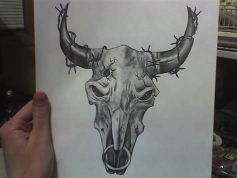 bull skull tattoo by cassiestep202 on deviantart