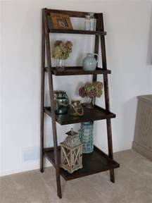 interior brown wood rustic ladder shelf for