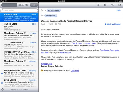 email layout on ipad hello lion s mail application
