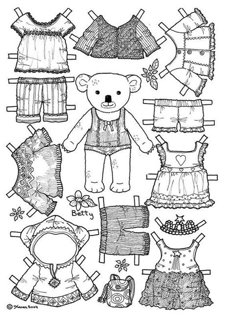 Girl Bear Paper Doll Coloring Page Colouring Pages Paper Doll Coloring Pages