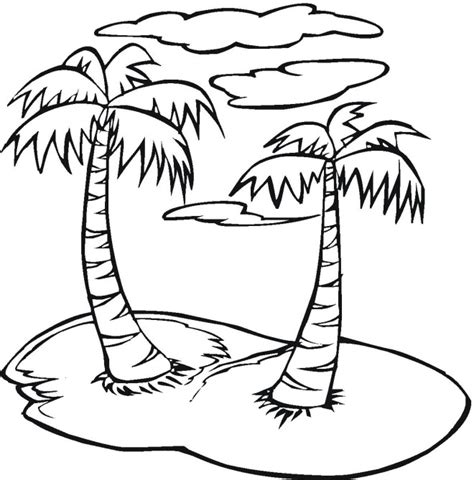 Palmtree Coloring Page Palm Tree Coloring Page