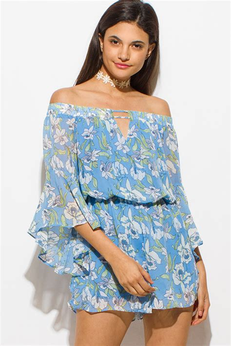Bell Sleeve Chiffon Playsuit shop sky blue chiffon floral print shoulder bell