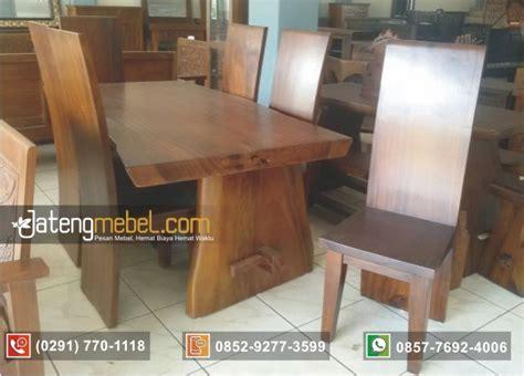 Meja Makan Solid Wood toko furniture jual meja makan trembesi blok 6 kursi
