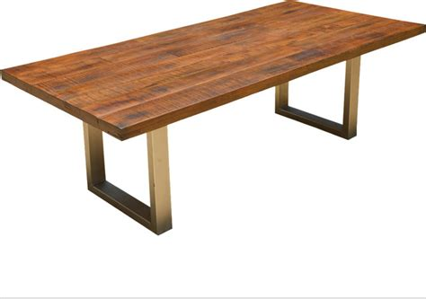 Modern Solid Wood Dining Table Solid Wood Lyon Modern Rustic Industrial Iron Base Dining Table Contemporary Dining Tables