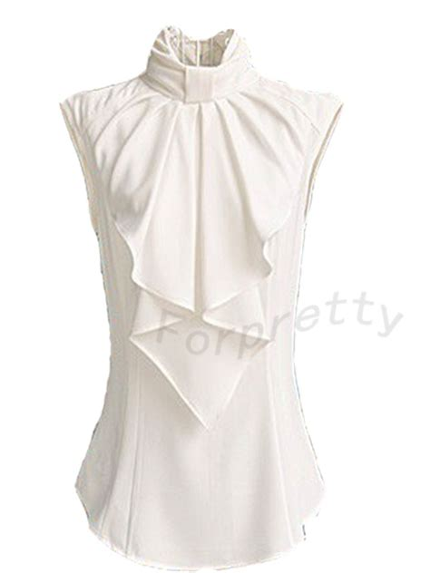 Collar Bow Sleeveless Top Whiteblue 13649 office stand up big bow collar sleeveless