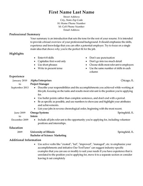 Free Professional Resume Templates Livecareer Resume Outline Template