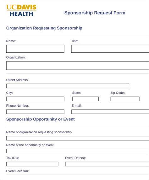 9 Sle Sponsorship Request Forms Sle Templates Sponsorship Request Form Template