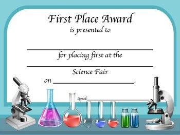 science certificate template science fair award certificates by math and science mania