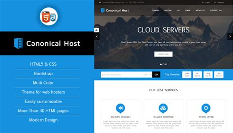 Canonical Host Responsive Html Css Hosting Template Hosting Template