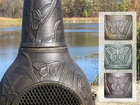 Best Price Cast Iron Chiminea The Blue Rooster Butterfly Chiminea With Gas In Gold