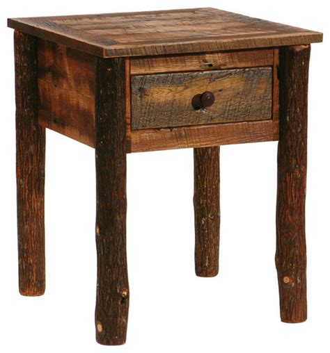 barnwood and hickory nightstand one drawer rustic