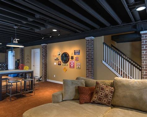 Inexpensive Unfinished Basement Ideas Black Ceiling Basement Ideas Home Style And Ideas Basements Ceilings And Black