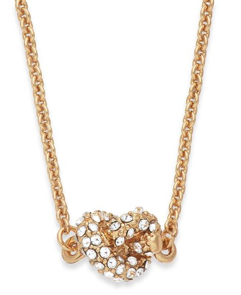lyst kate spade new york gold tone crystal knot pendant